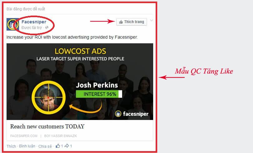 Quảng cáo tăng like Facebook tính theo dựa trên mỗi lượt like trang