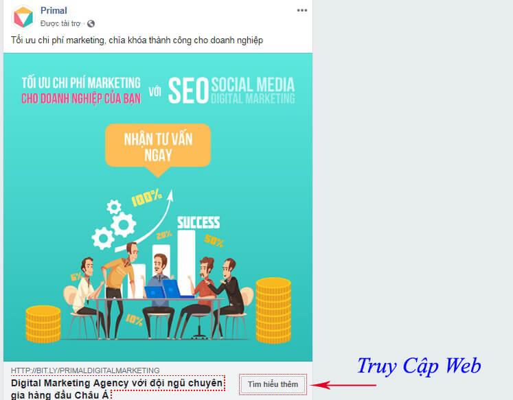 Mẫu quảng cáo hướng người dùng về trang đích thuộc 1 website cụ thể
